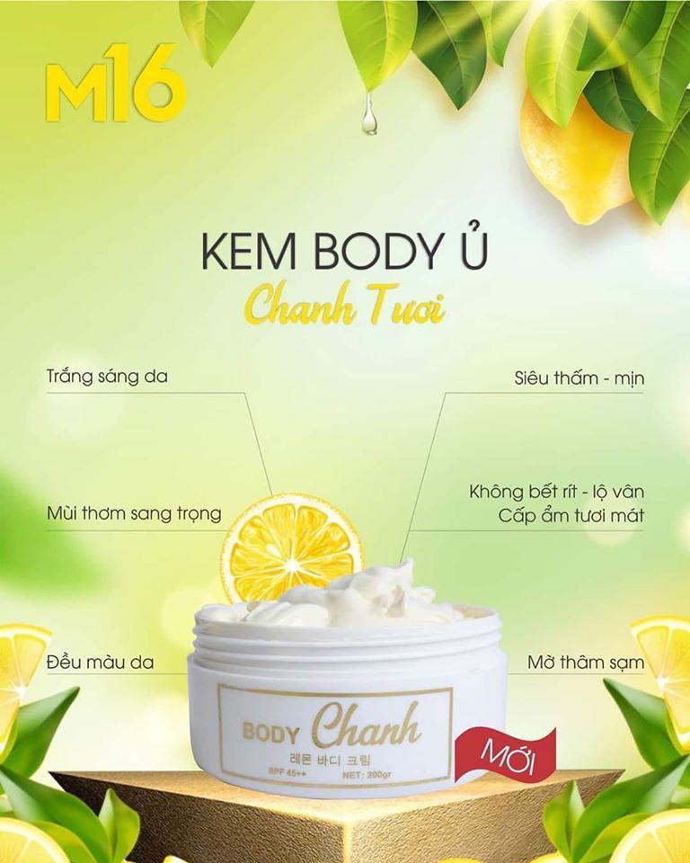 kem body ủ trắng chanh m16