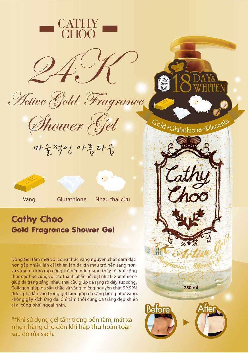 Sữa tắm trắng da Cathy Choo vàng 24k